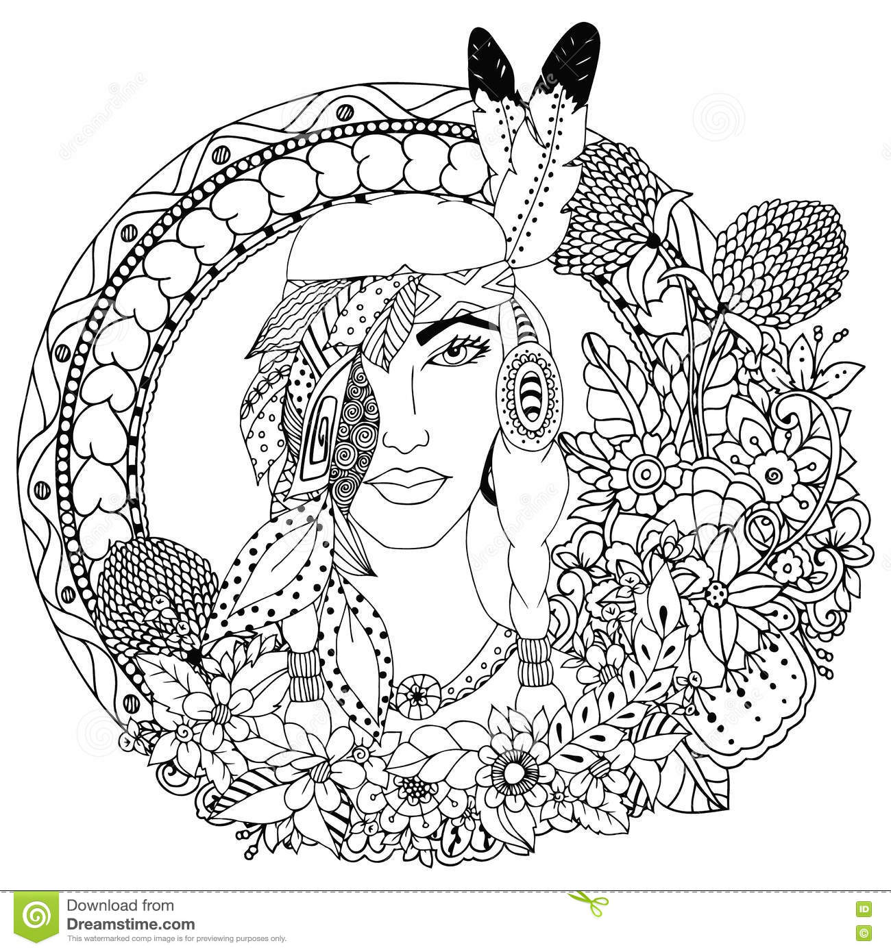 Vector Illustration , Native American Girl In Round Frame