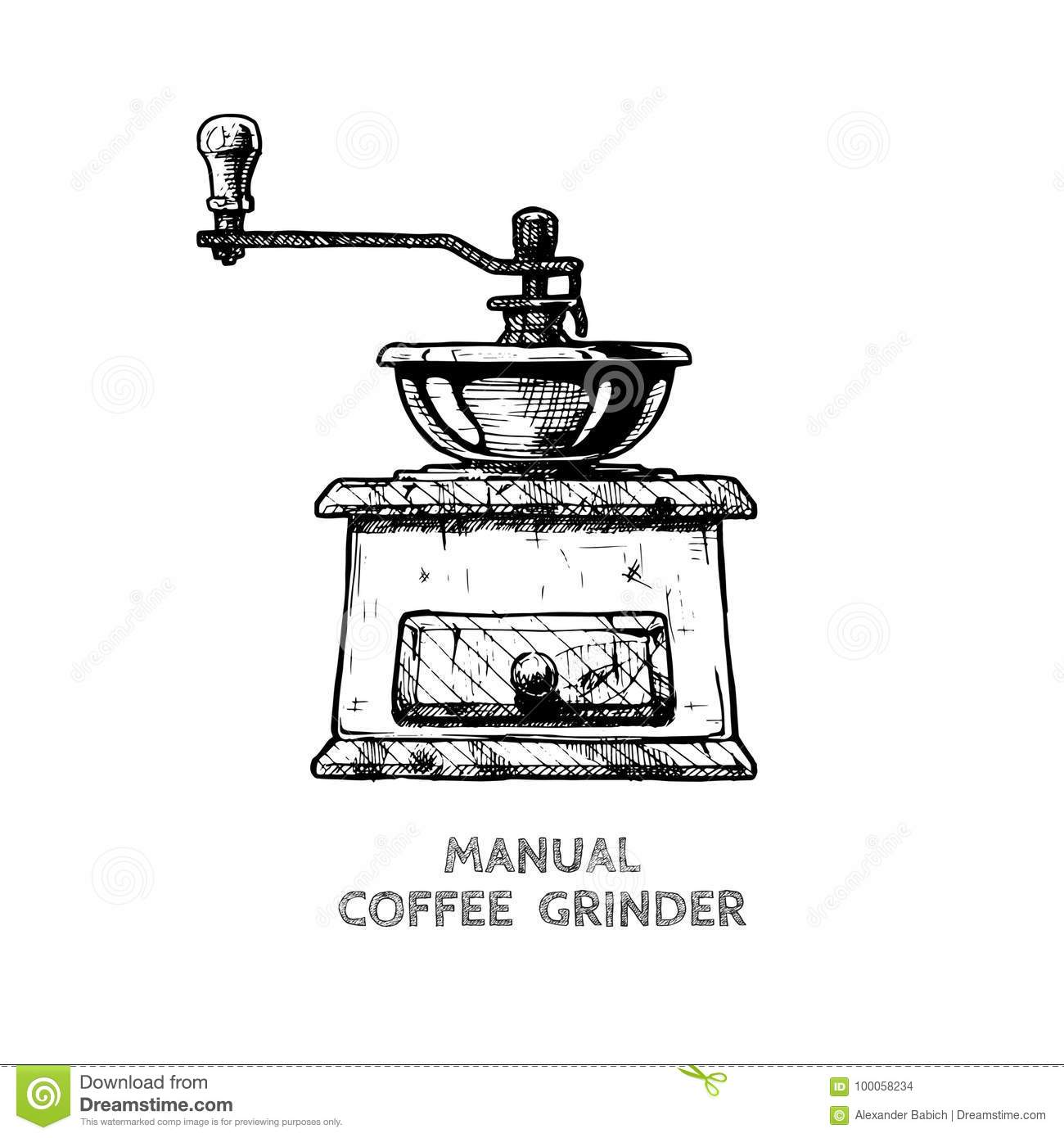 Manual Burr Mill Coffee Grinder Stock Vector