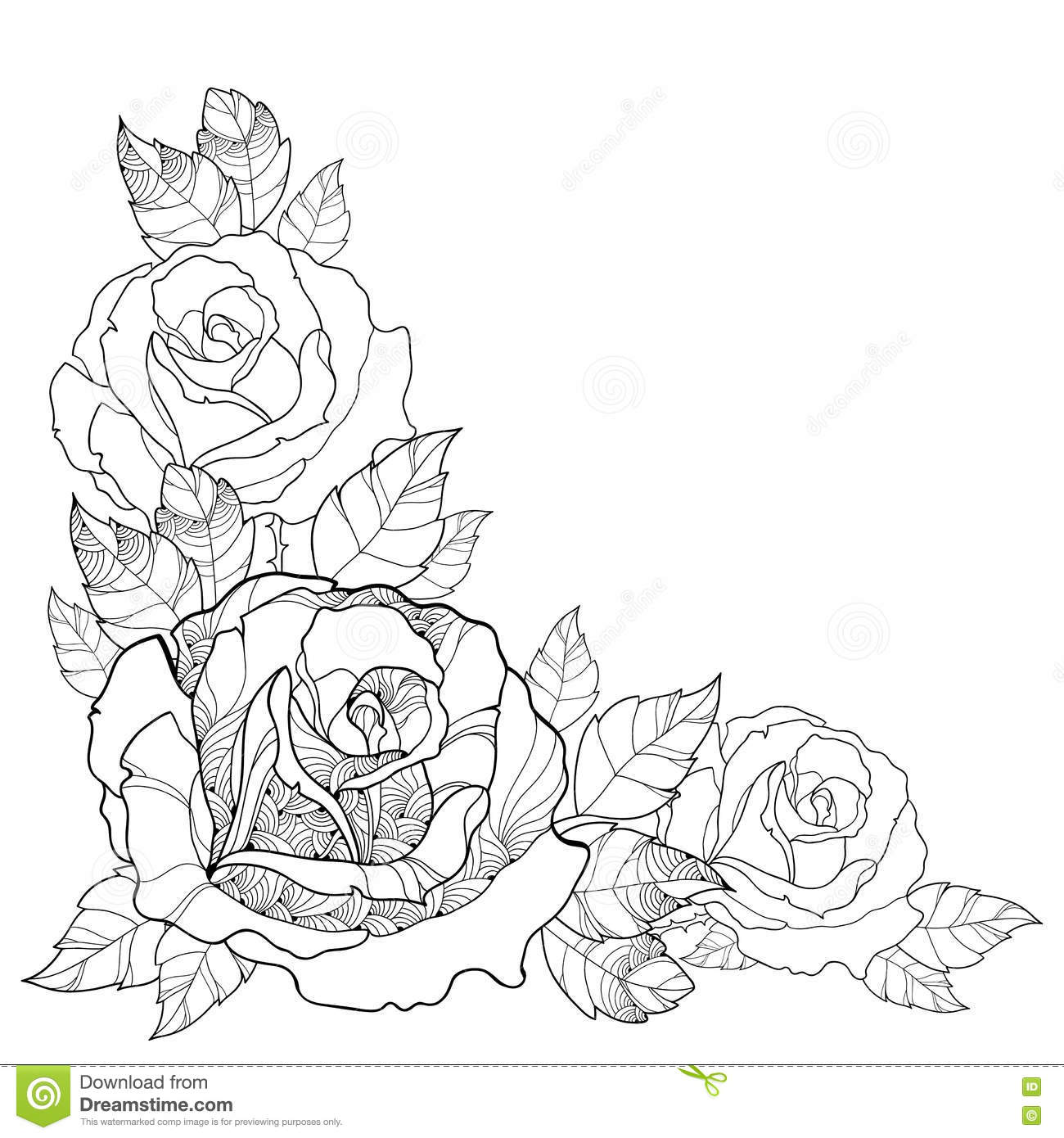 Vector Illustration With Outline Rose Flower And Foliage