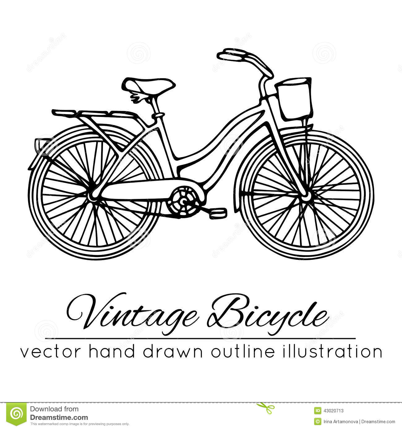 Vector Illustration Of Outline Vintage Bicycle Stock