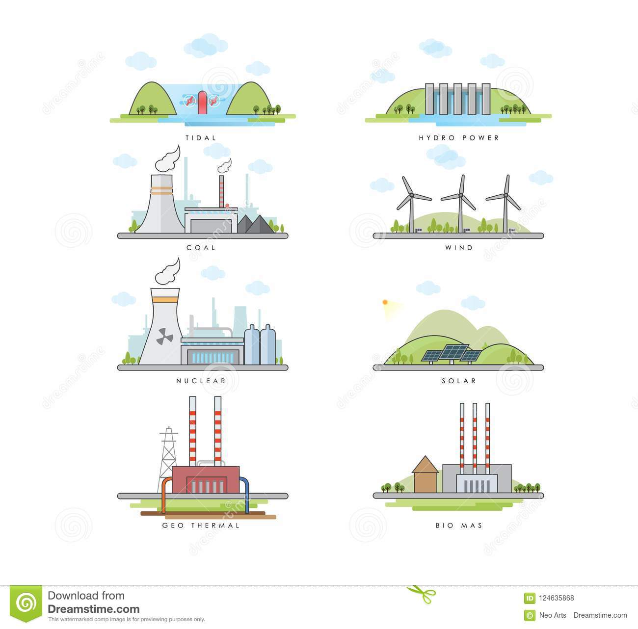 hight resolution of vector illustration of different type electric power plant tidal hydro power coal wind nuclear solar geo thermal biomass energy