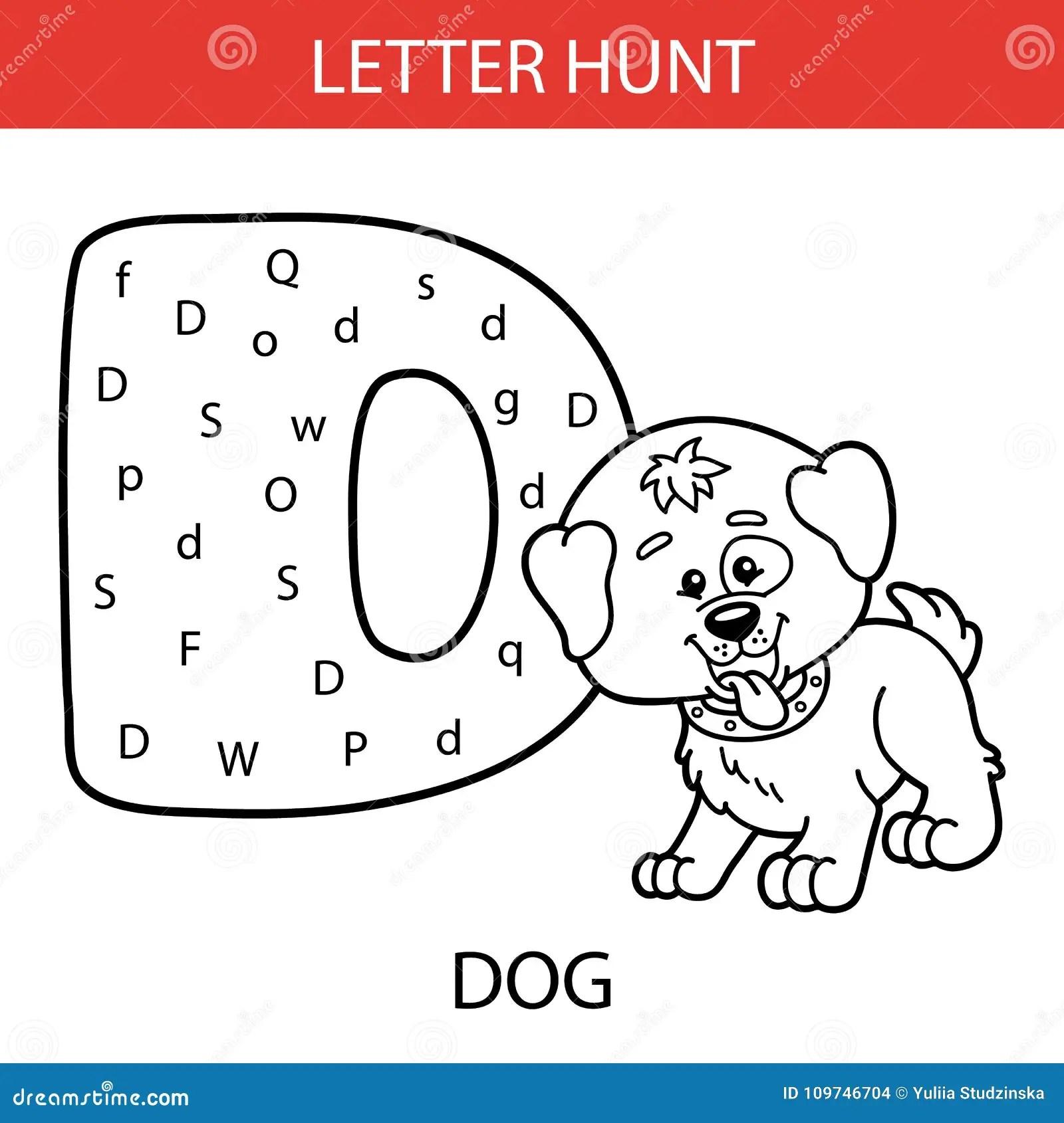 Animal Letter Hunt Dog Stock Vector Illustration Of