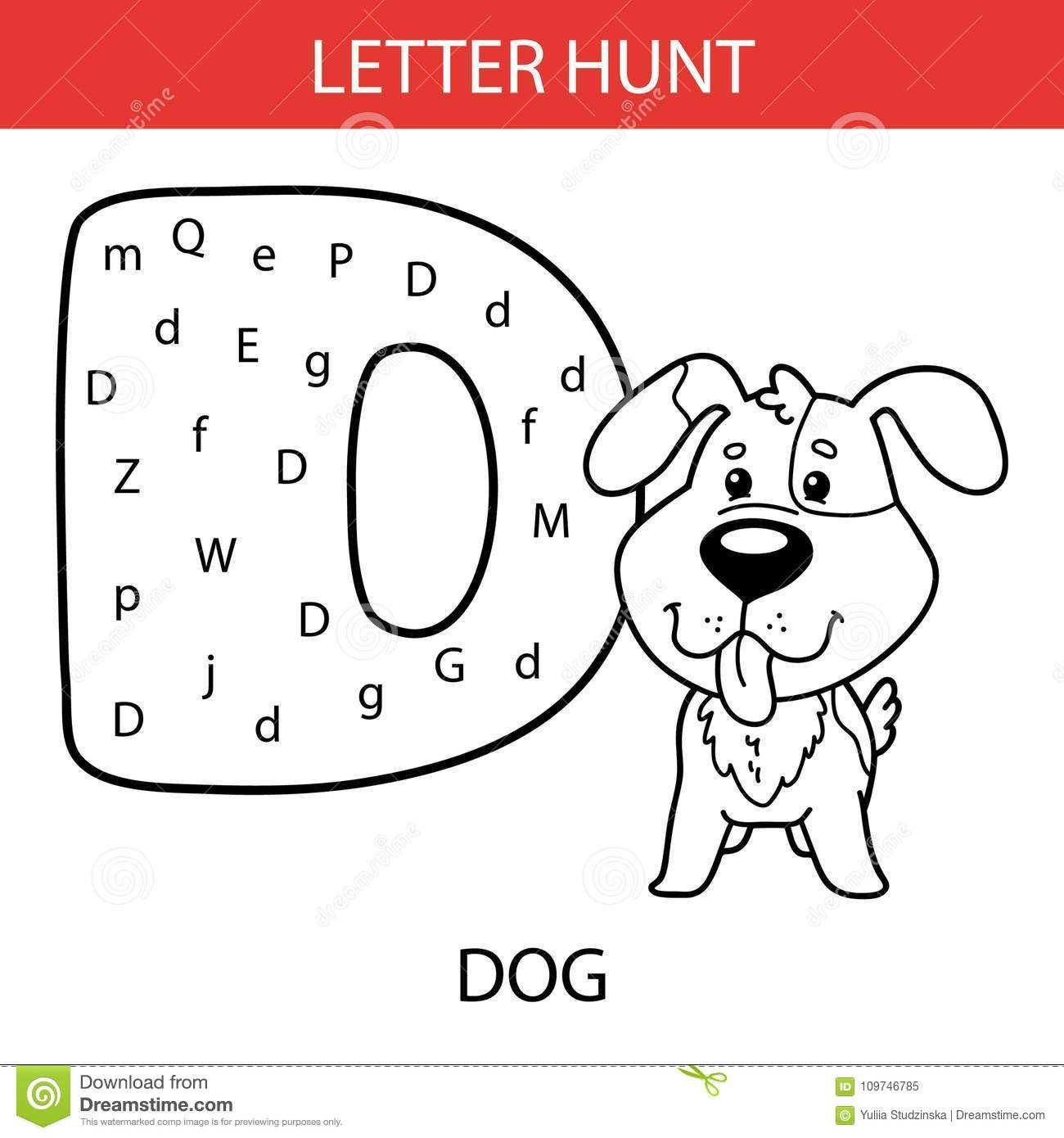 Animal Letter Hunt Puppy Stock Vector Illustration Of English