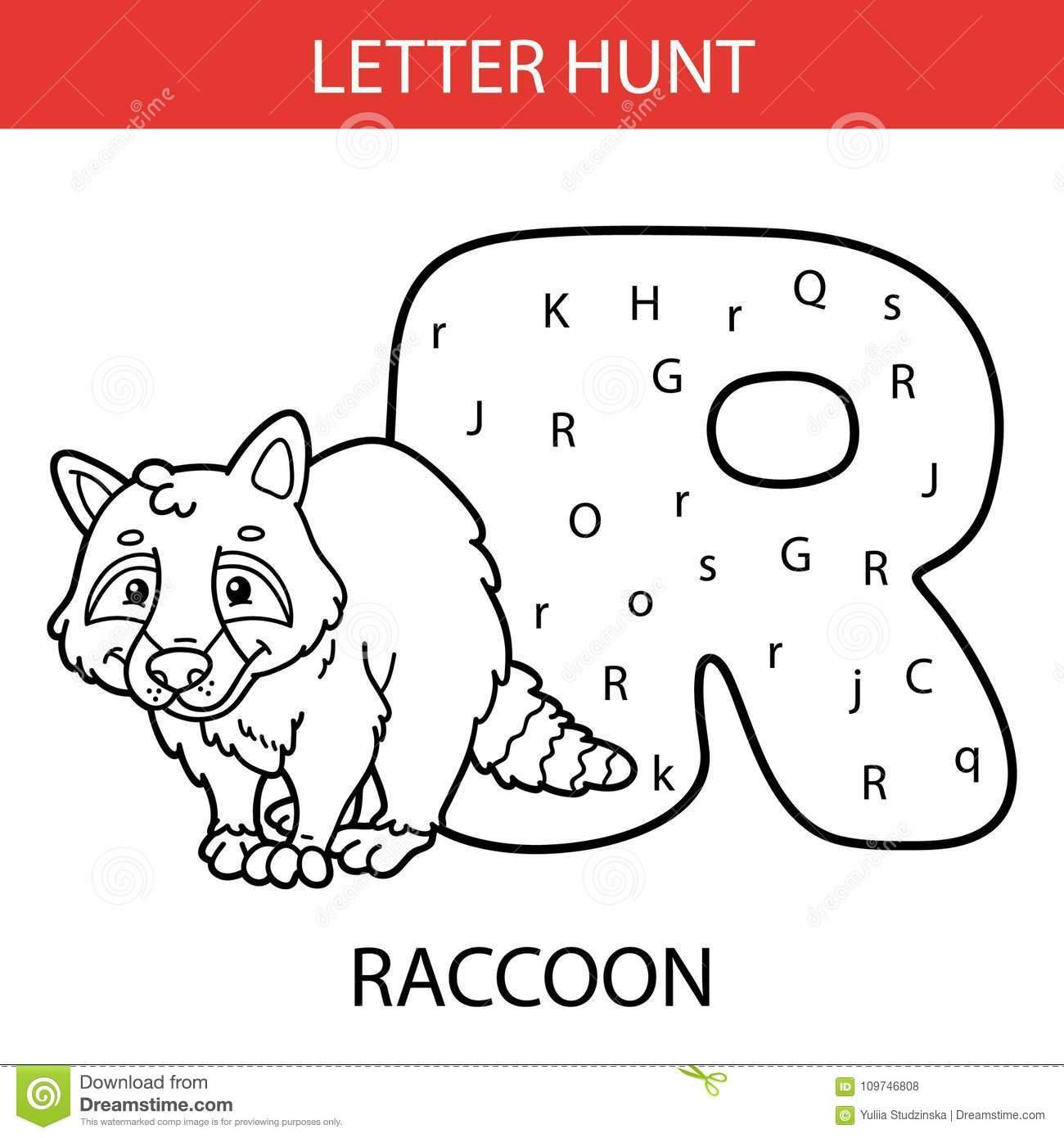 Animal Letter Hunt Raccoon Stock Vector Illustration Of