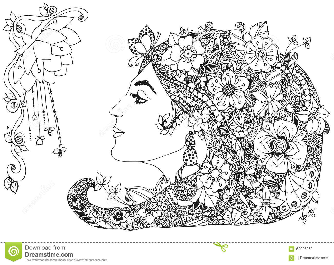 Vector Illustration Of The Profile Girl With Flowers In