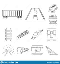 vector illustration of railroad and train icon set of railroad and way stock vector illustration  [ 1600 x 1689 Pixel ]