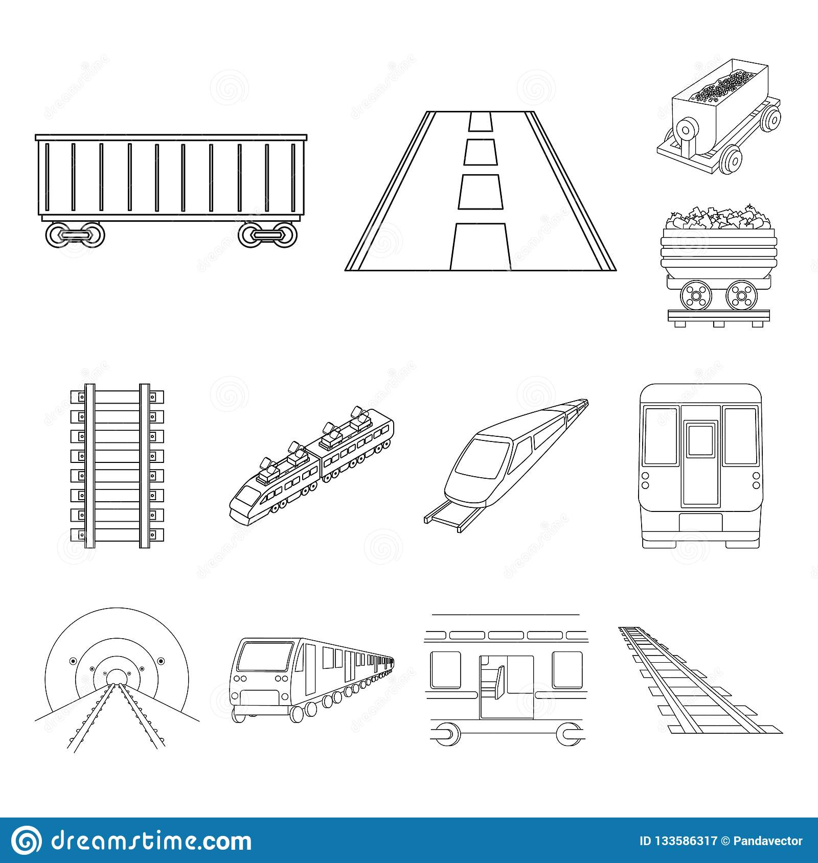 hight resolution of vector illustration of railroad and train icon set of railroad and way stock vector illustration