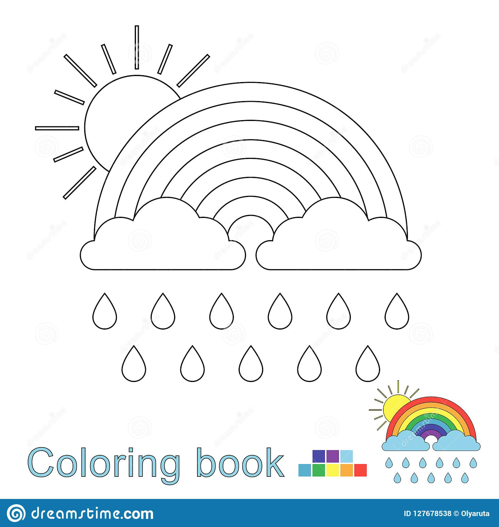 Vector Illustration Of Rainbow Clouds Raindrops And Sun