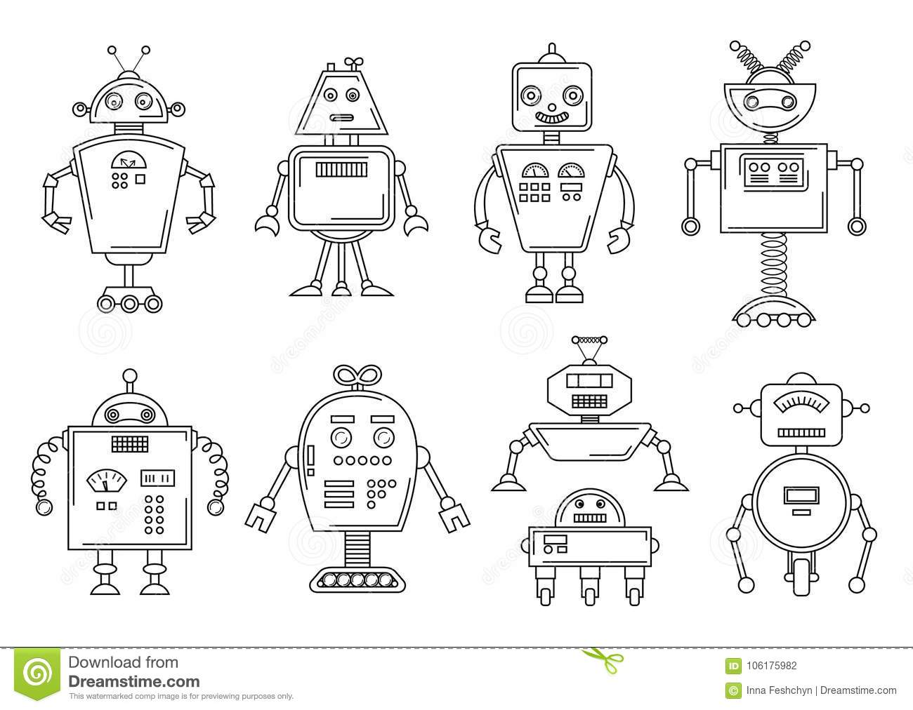 Vector Illustration Of A Robot. Mechanical Character