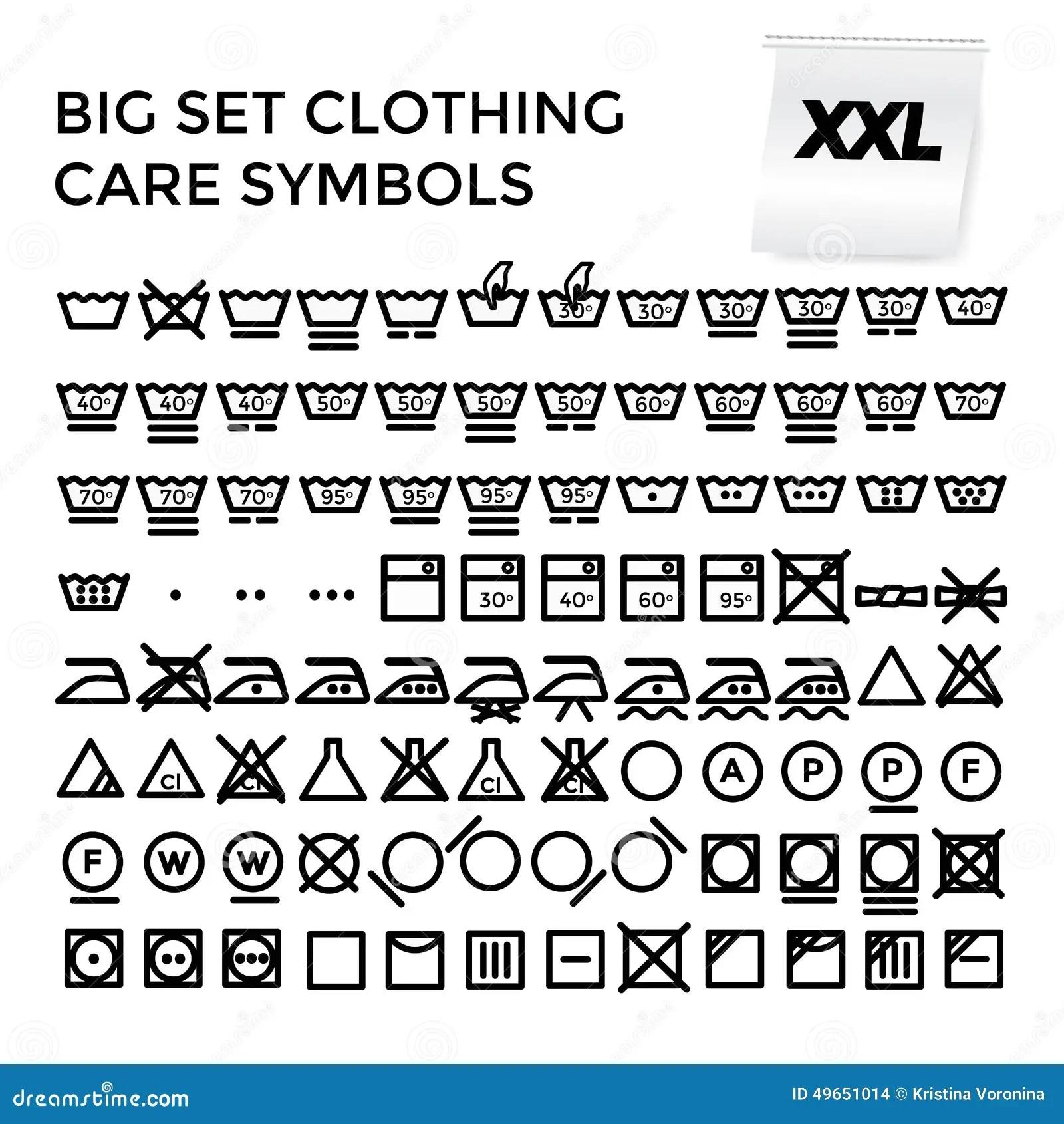 Vector Illustration Set Clothing Care Symbols Stock Vector