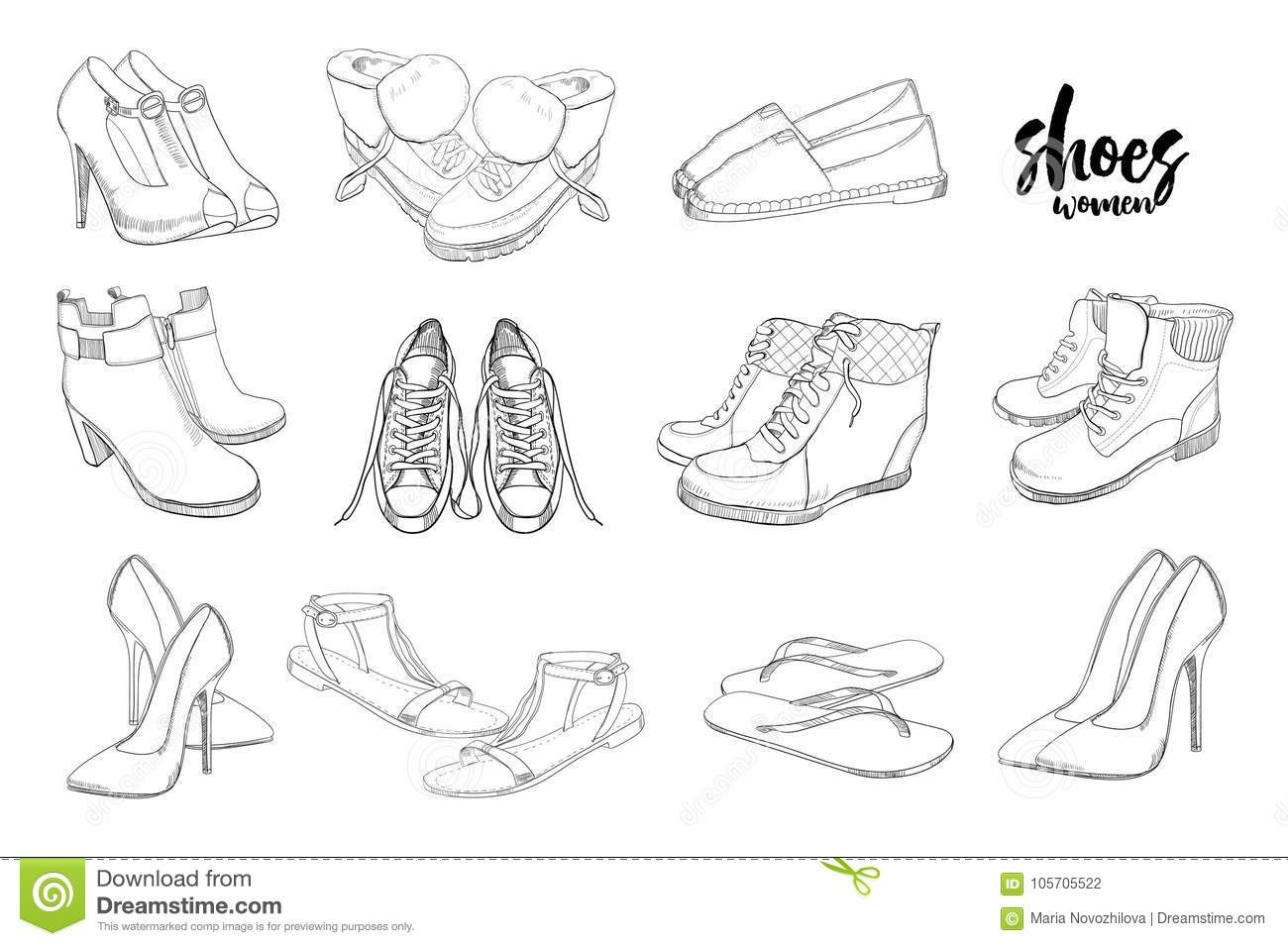 Illustration Of Set Hand Drawn Graphic Men And Women