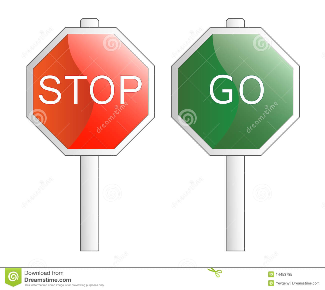 Vector Illustration Stop And Go Signs Stock Vector