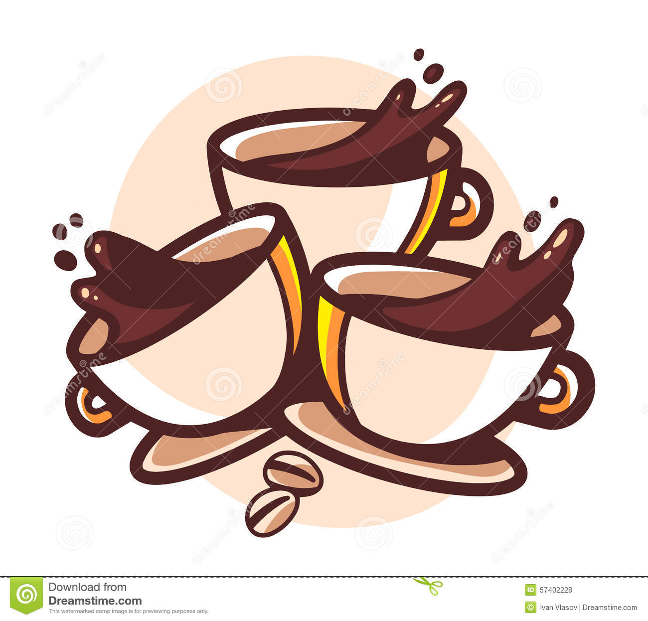hight resolution of vector illustration of three cups of coffee