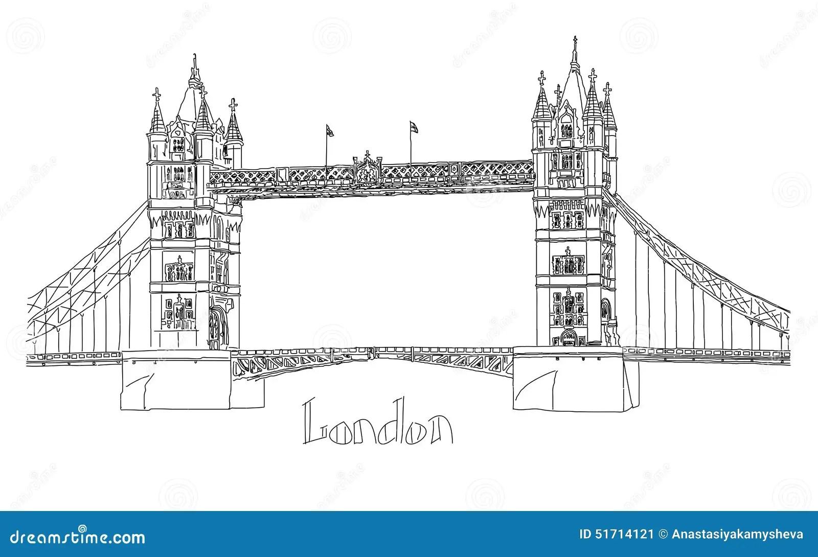 Vector Illustration Of Tower Bridge London Stock