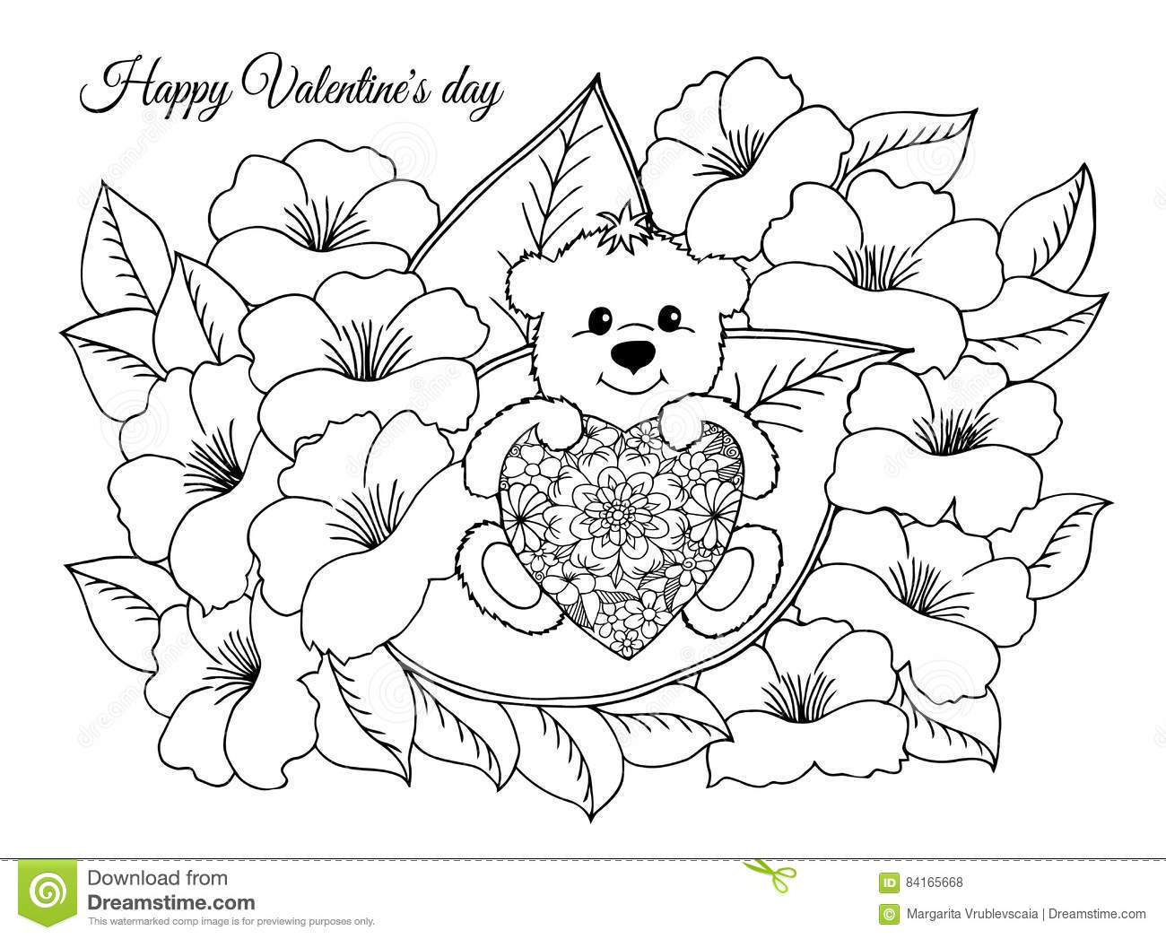 Vector Illustration,valentines, Enamored A Teddy Bear With