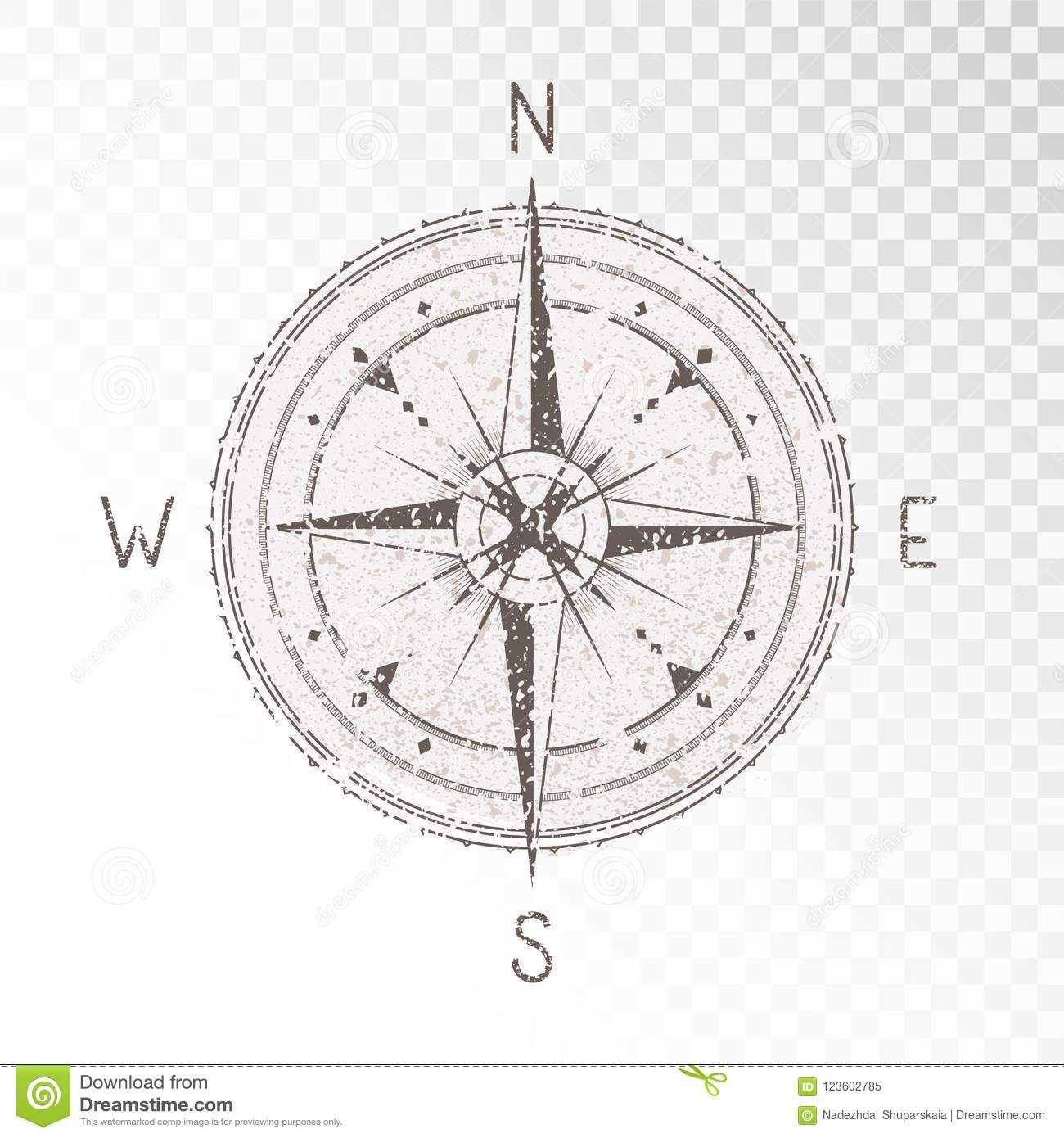 Vector Illustration With A Vintage Textured Compass Or