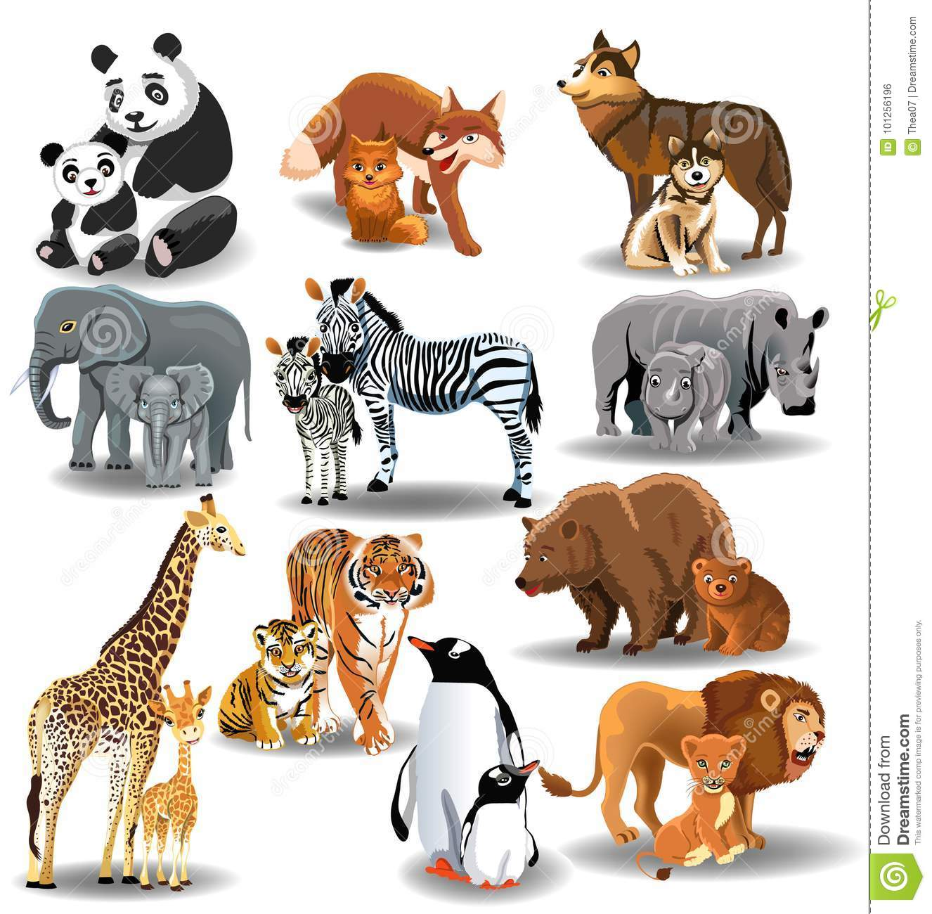 Wild Animals And Their Babies Stock Vector