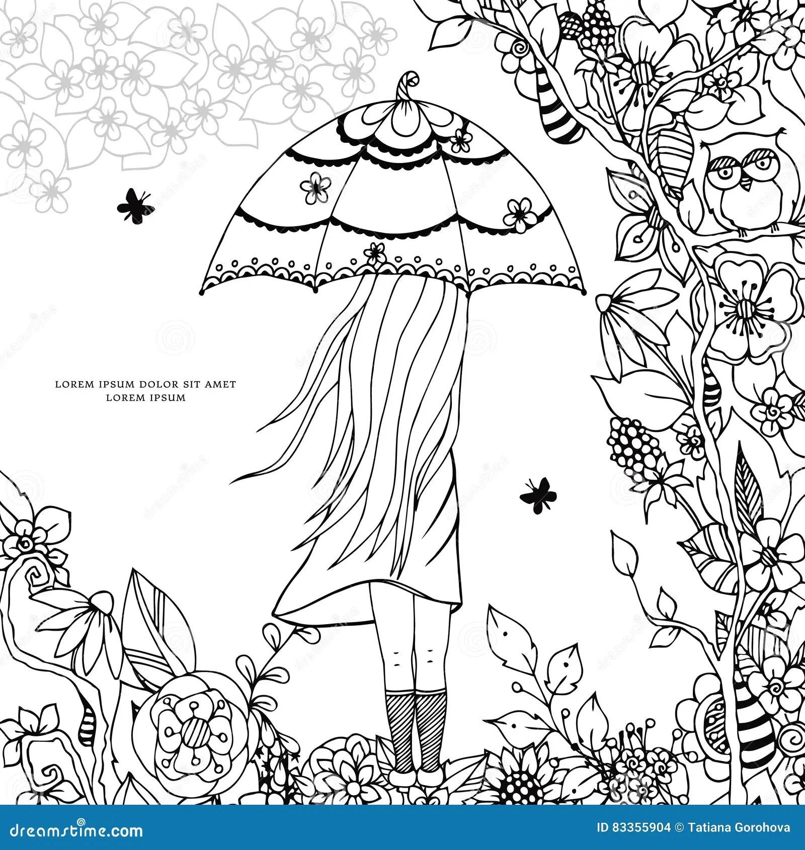 Vector Illustration Zen Tangle, A Girl With An Umbrella In