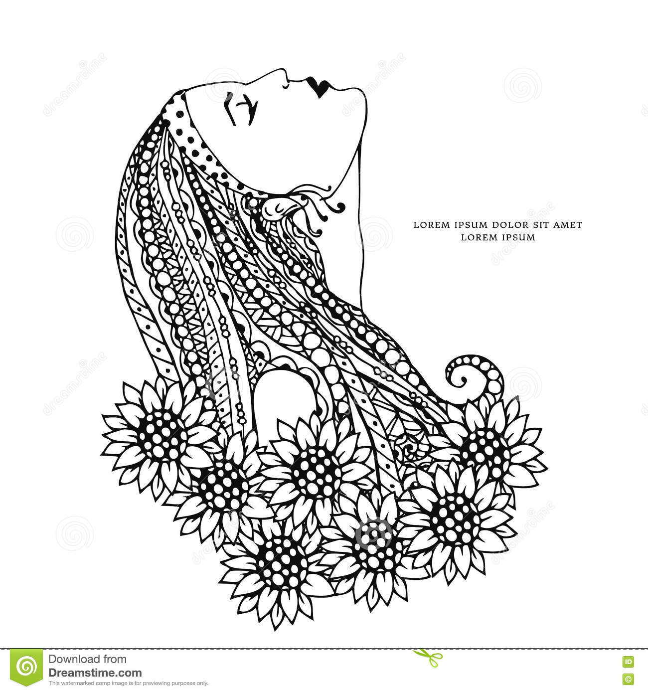 Vector Illustration Zen Tangle Isolated Girl With Flowers