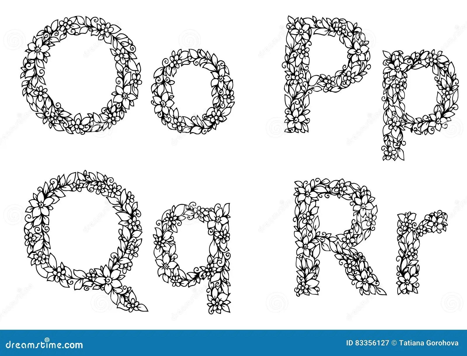 Vector Illustration Zentangl, Flower Letters O, P, Q, R