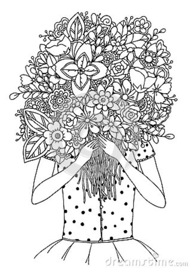 Vector Illustration Zentangl, A Girl And Bouquet Of