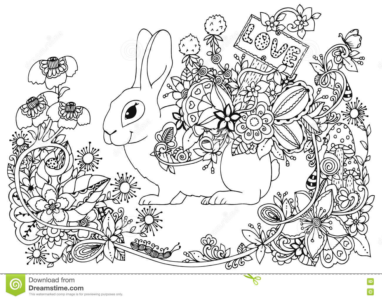 Vector Illustration Rabbit In Flower Frame Doodle Drawing Coloring Book Anti Stress For Adults