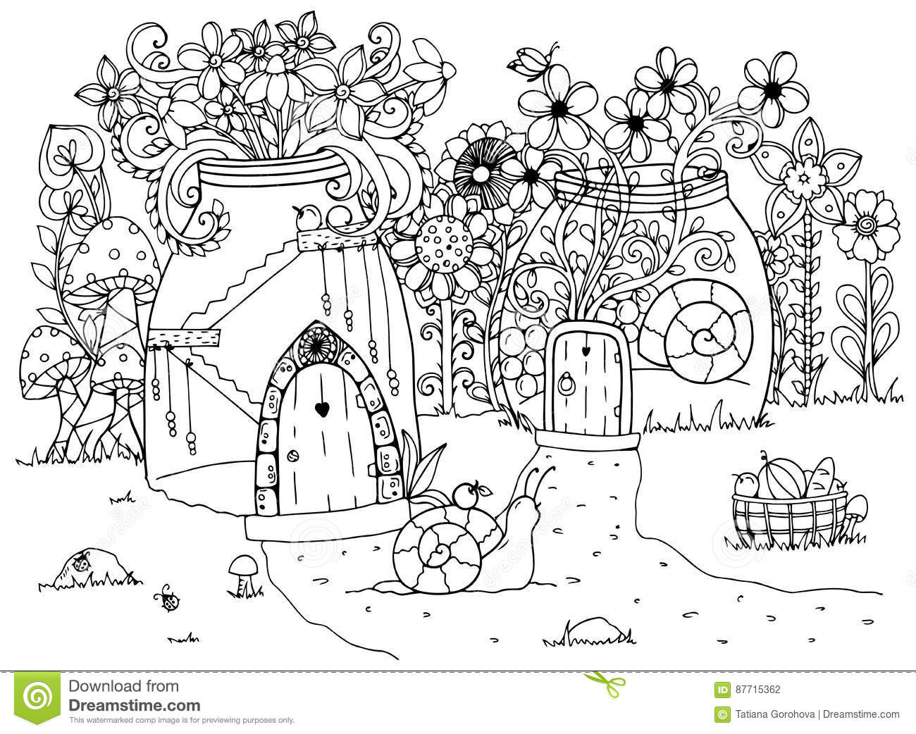 Vector Illustration Zentangl, Snail And The House. Doodle