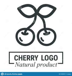 outline cherry cartoon vector