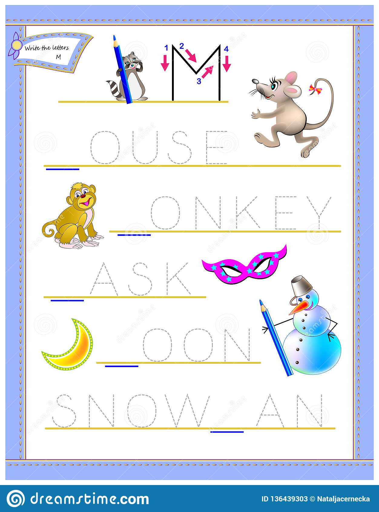 Tracing Letter M For Study English Alphabet Printable