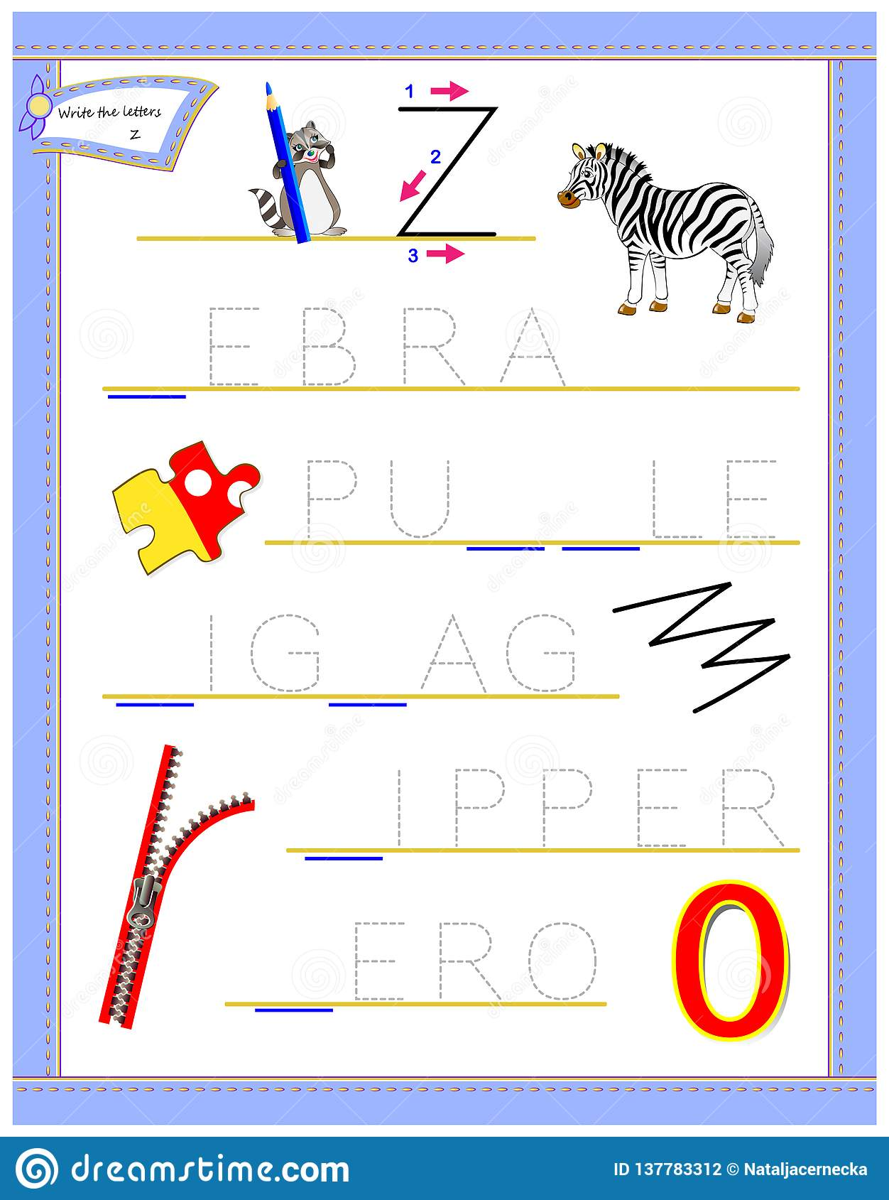 Tracing Letter Z For Study English Alphabet Printable