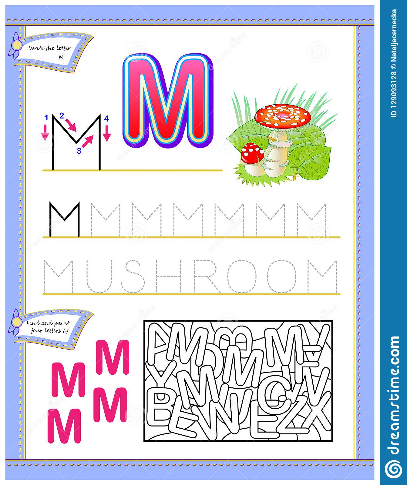 Worksheet For Kids With Letter M For Study English