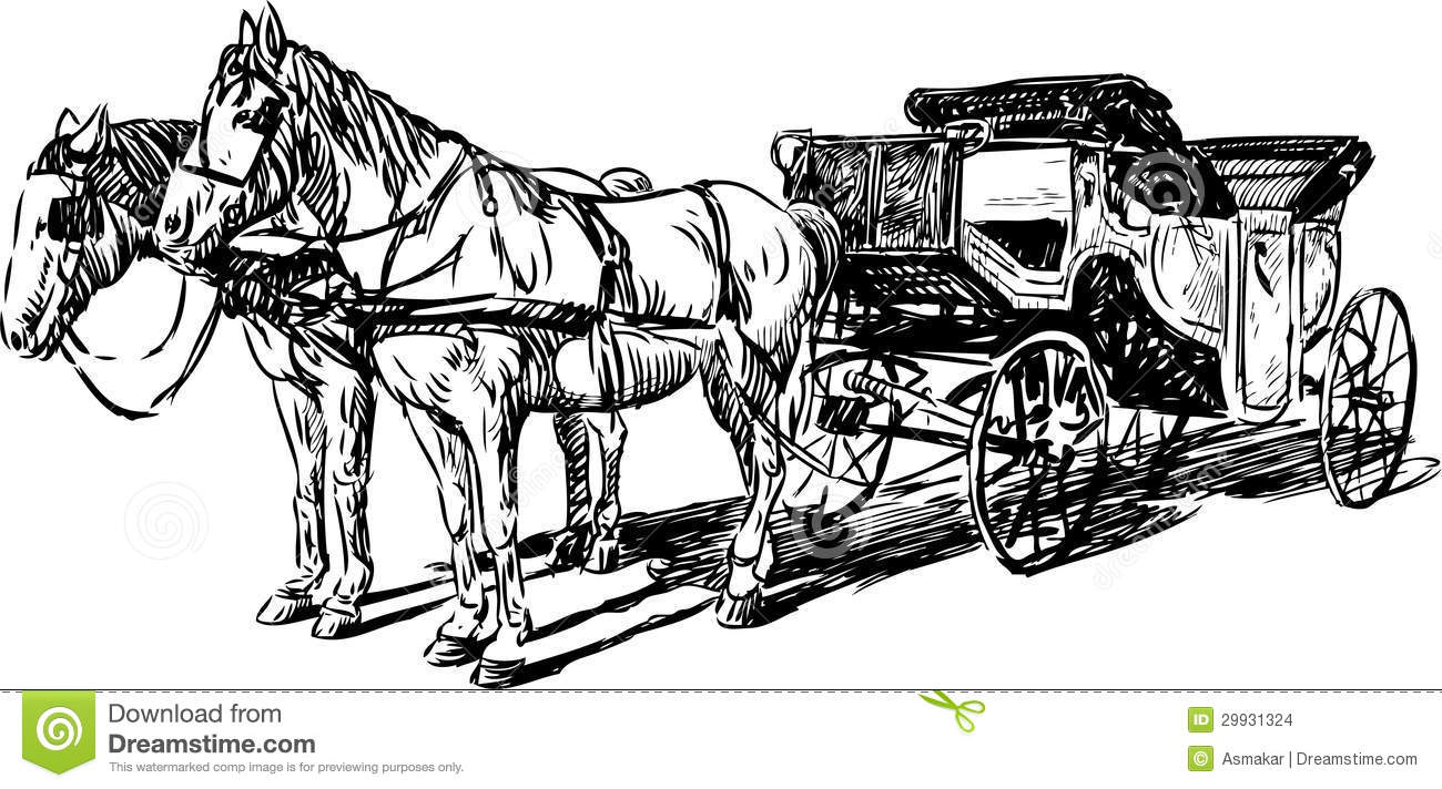 Carriage with horses stock vector. Illustration of retro