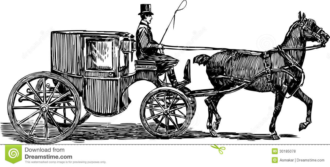 Horse carriage stock vector. Illustration of wheel, 1819