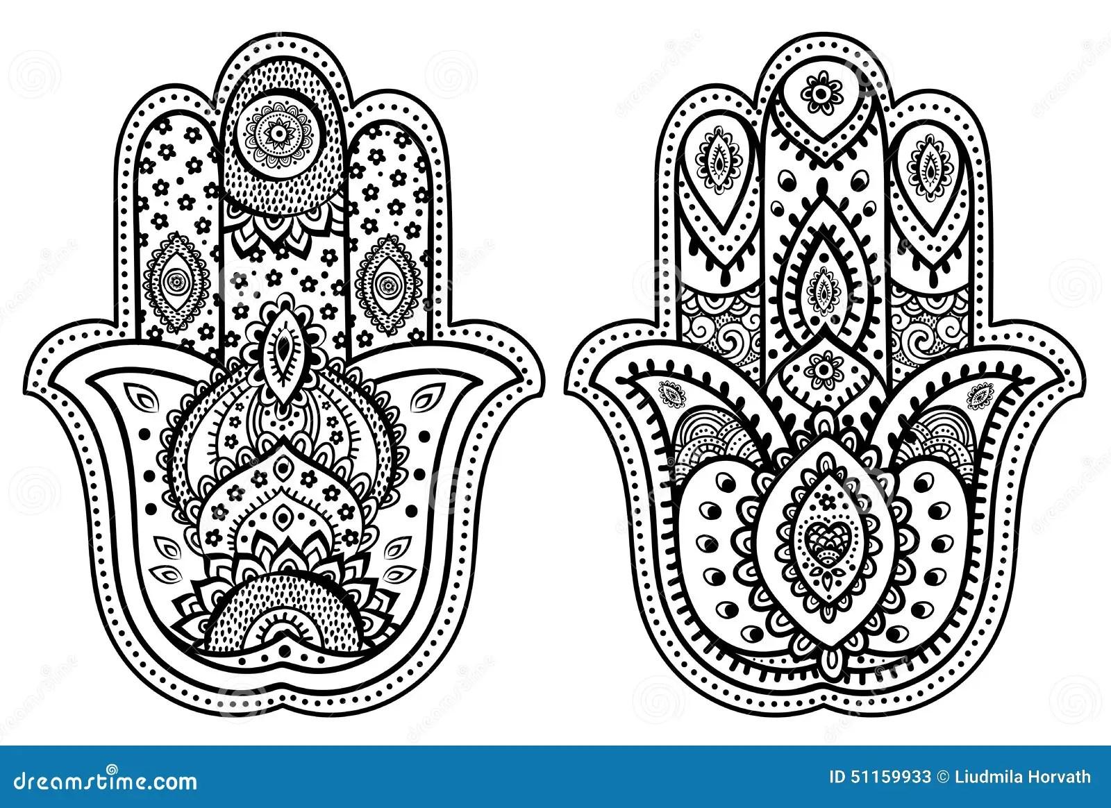 Vector Indische Hand Getrokken Hamsa Met Ornamenten Vector