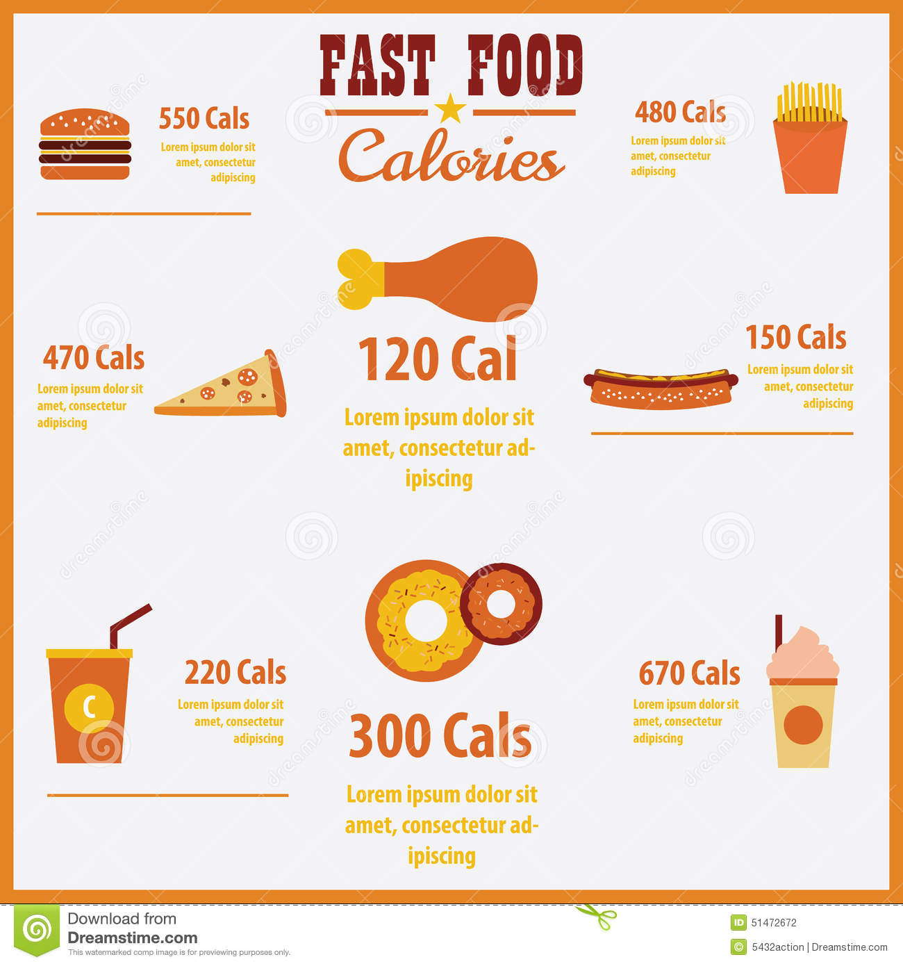 Vector Infographic Fast Food Calories Stock Vector