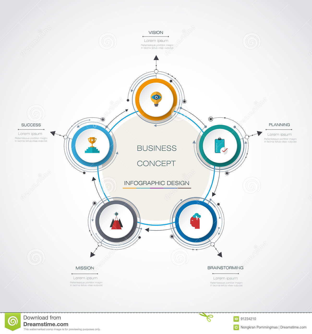 hight resolution of vector infographic 3d circle label design with arrows sign and 3 options or steps can be used for business infograph template process infographics