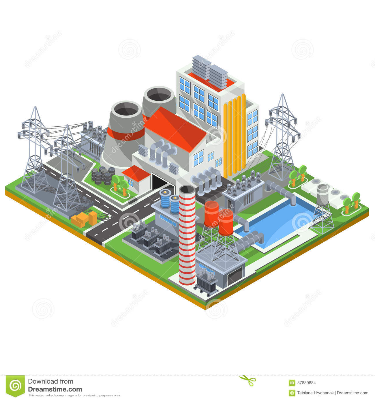 hight resolution of isometric vector illustration of a thermal power plant for the production of electrical energy with the flue pipes industrial buildings and power lines