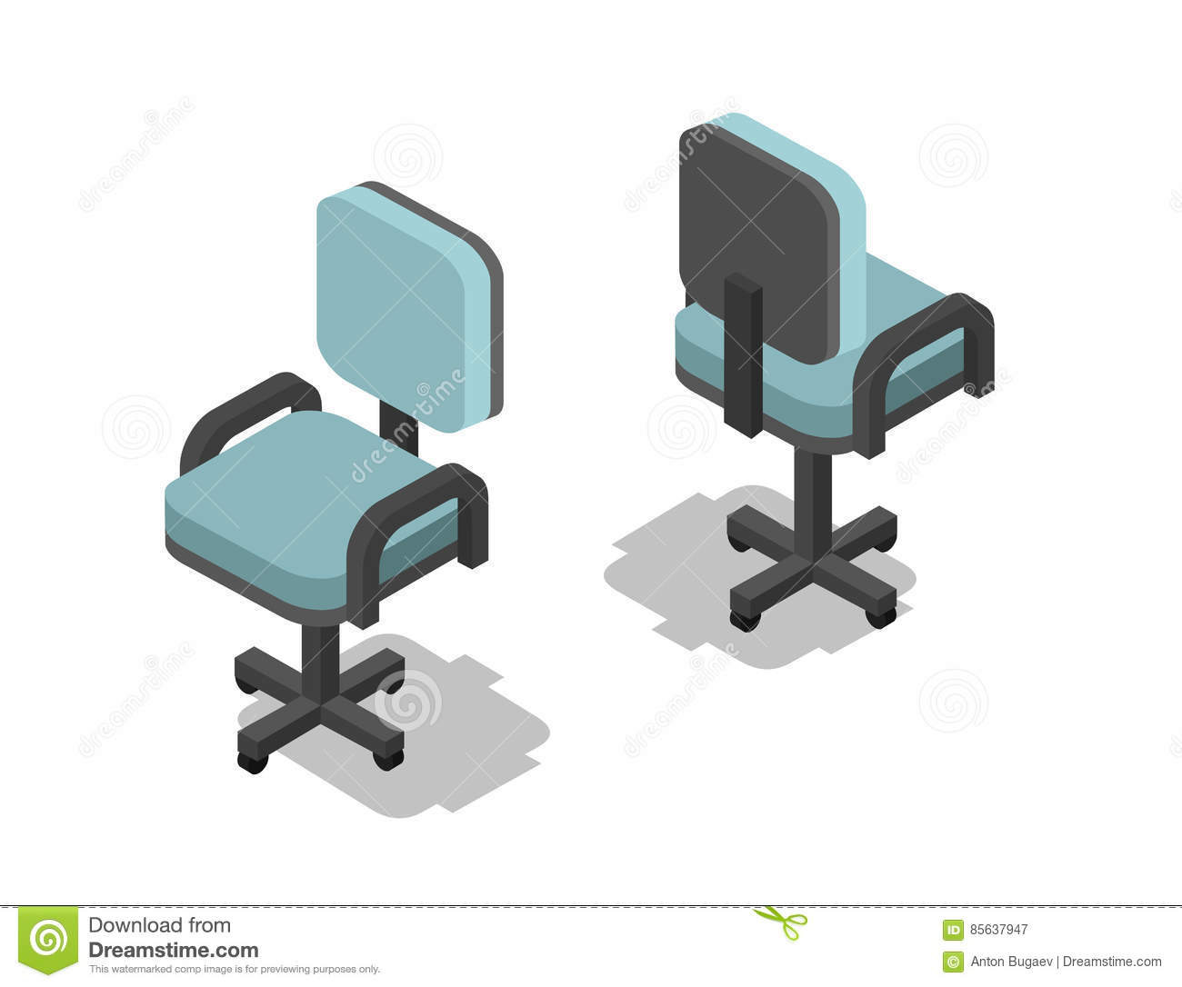 office chair vector harith high back leather executive isometric illustration of 3d flat