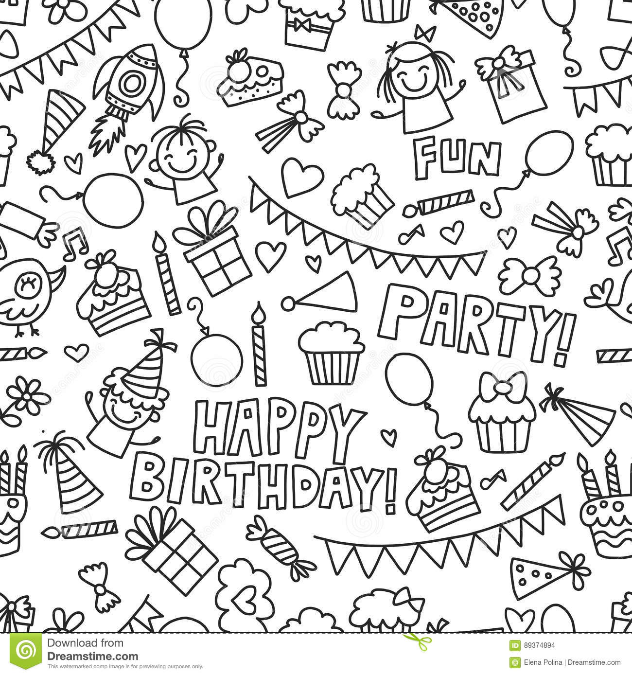 Vector Kids Party Coloring Page Children Birthday Icons In