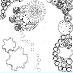 Shrub Graphic Symbols Diagram Loncin 110 Atv Wiring Vector Landscape Plan Stock Illustration Of