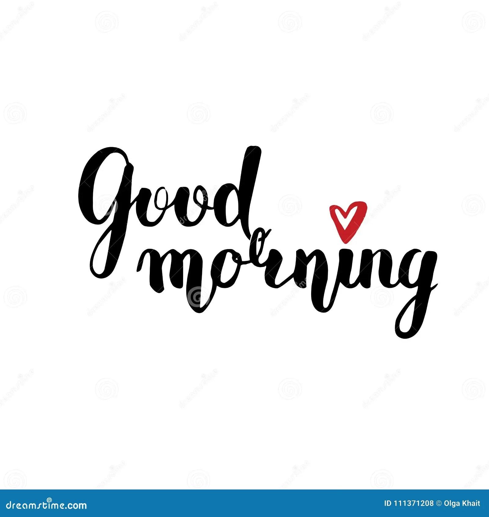 Good Morning Brush Calligraphy Cartoon Vector
