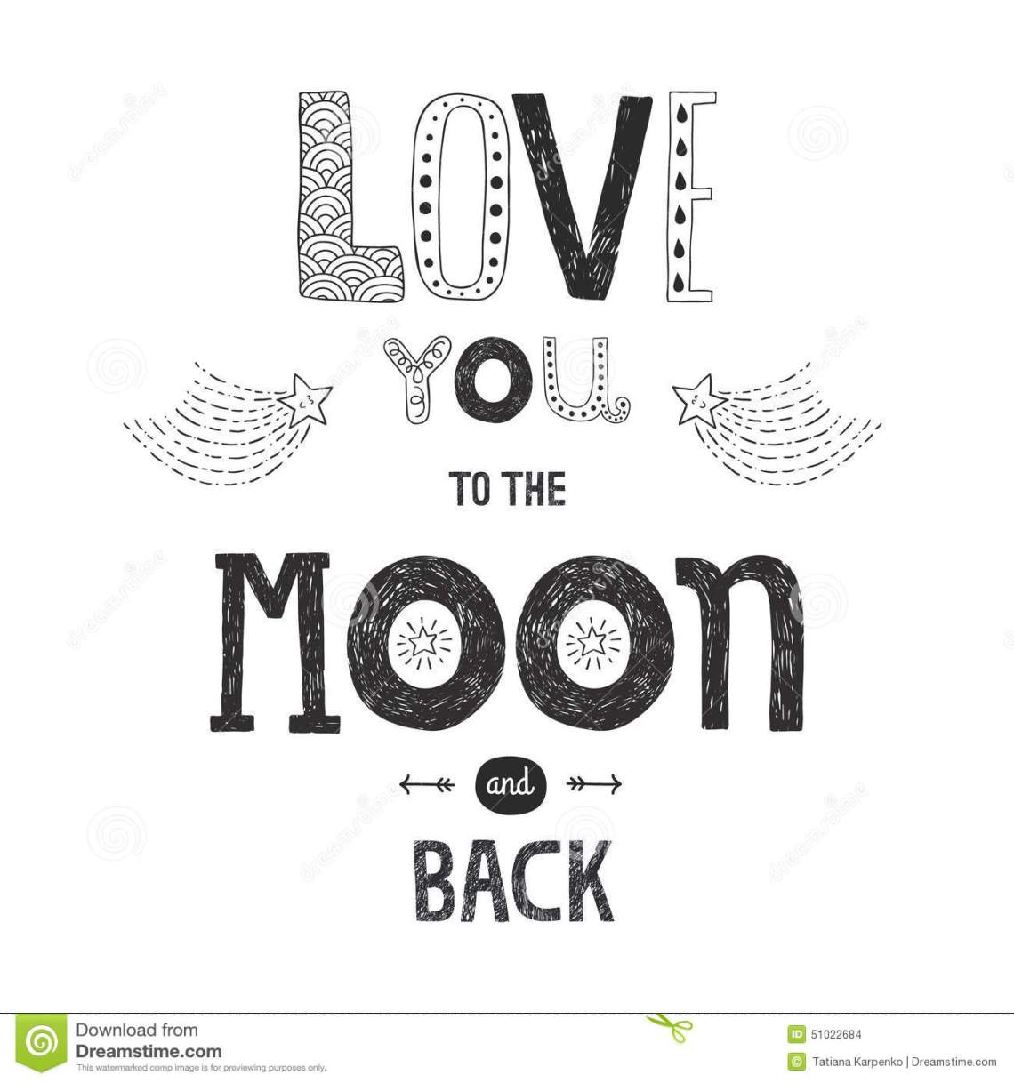 Download Vector Lettering Love You To Yhe Moon And Back Stock ...