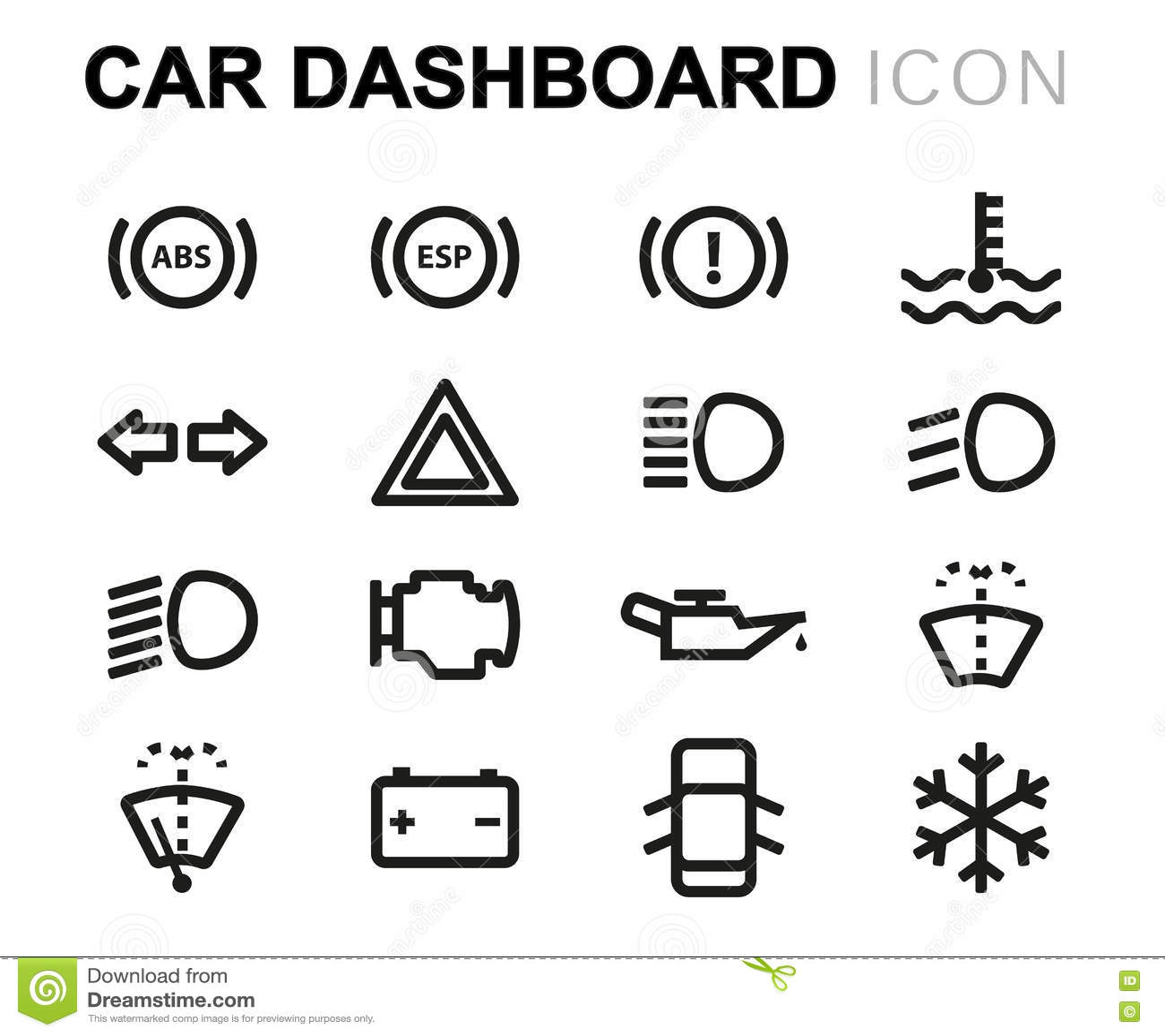 Vector Line Car Dashboard Icons Set Stock Illustration
