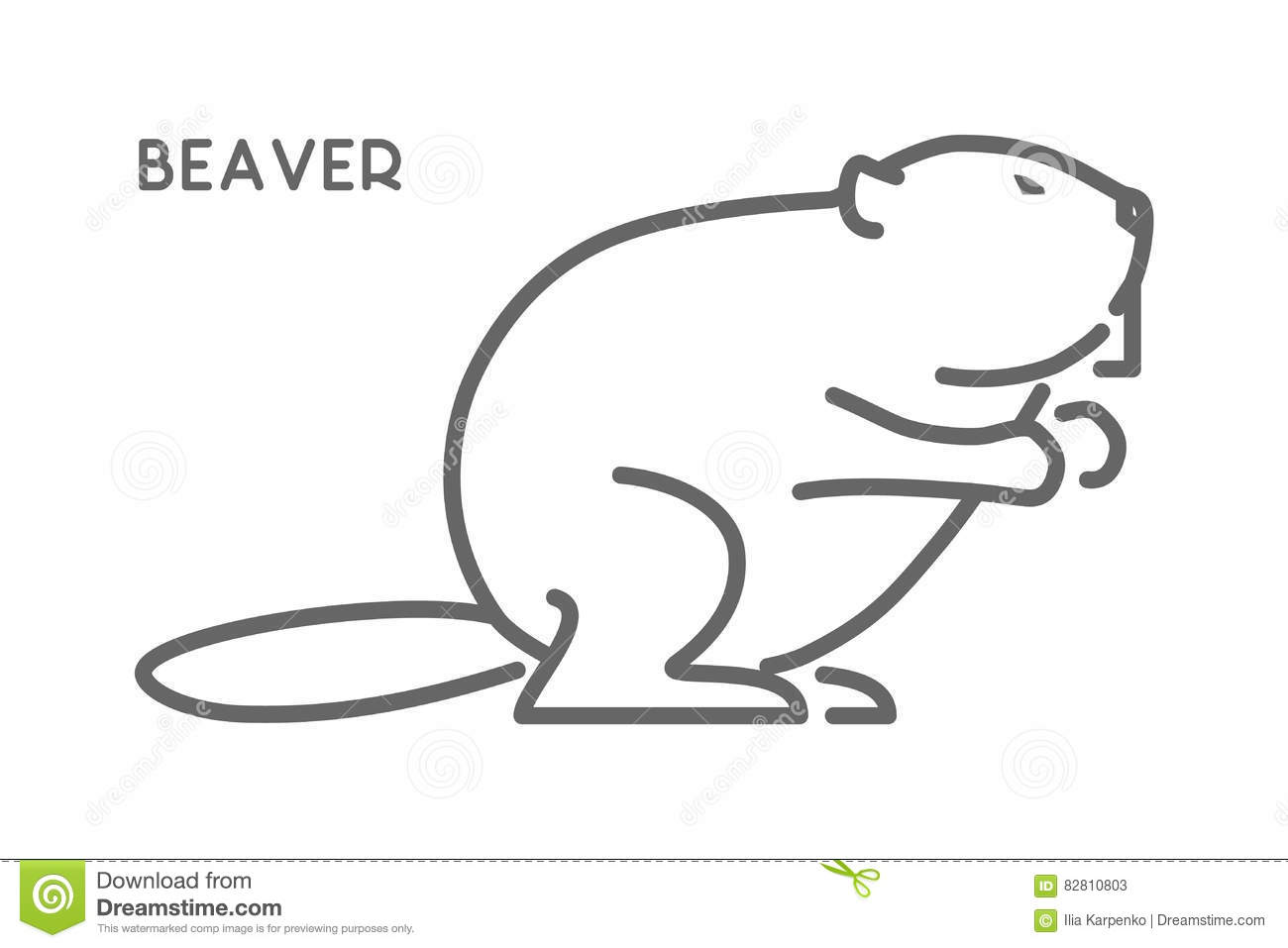 Vector Line Figure Of Beaver Stock Illustration