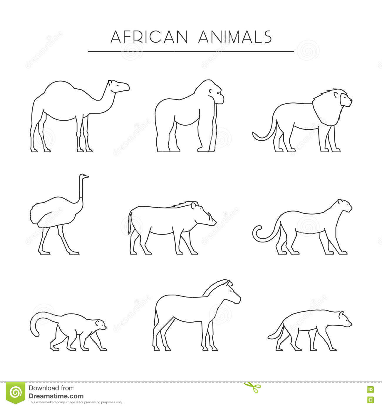 Vector Set Of Outline African Animals Stock Photo