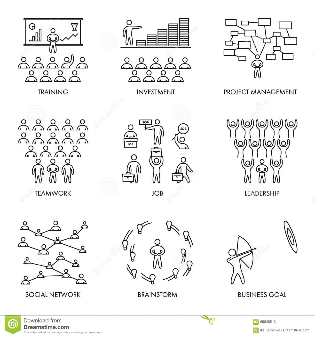 Linear Business Icon Set Vector Illustration