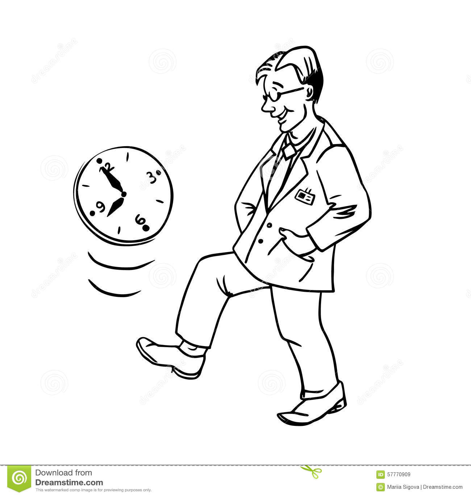 Vector Linear Illustration Procrastination Stock Vector