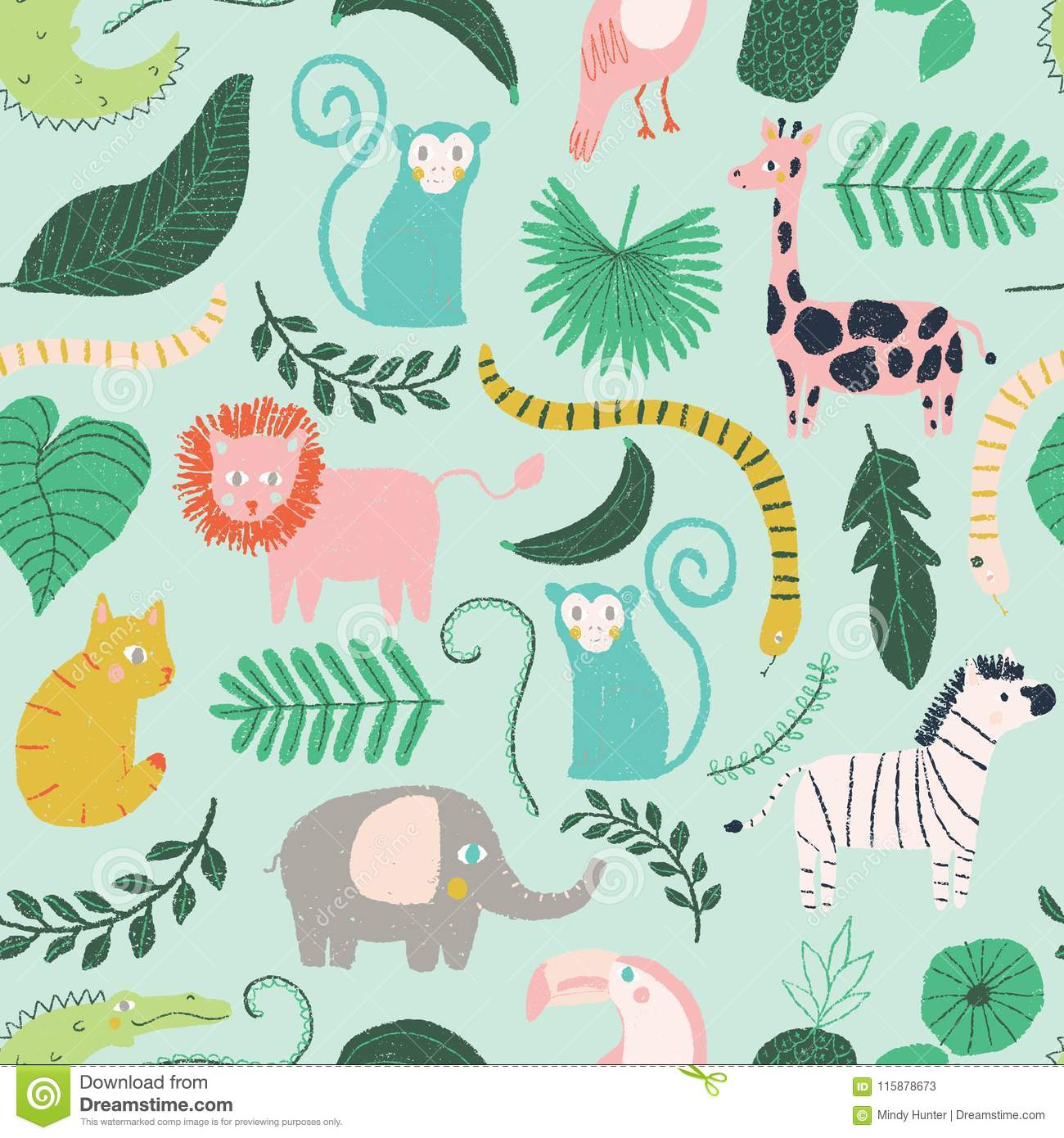 Vector Little Jungle Animal Seamless Repeat Background