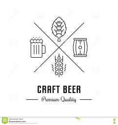vector logo beer with wheat hops beer mug and barrel hipster logo label or banner for craft beer bar and pub  [ 1300 x 1390 Pixel ]
