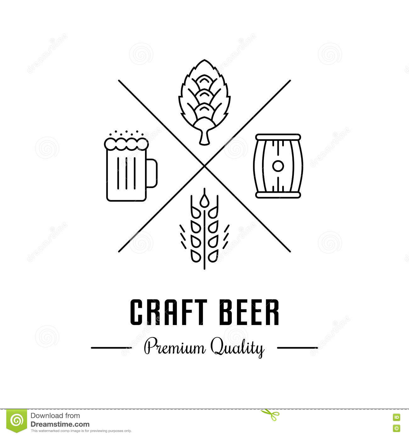hight resolution of vector logo beer with wheat hops beer mug and barrel hipster logo label or banner for craft beer bar and pub